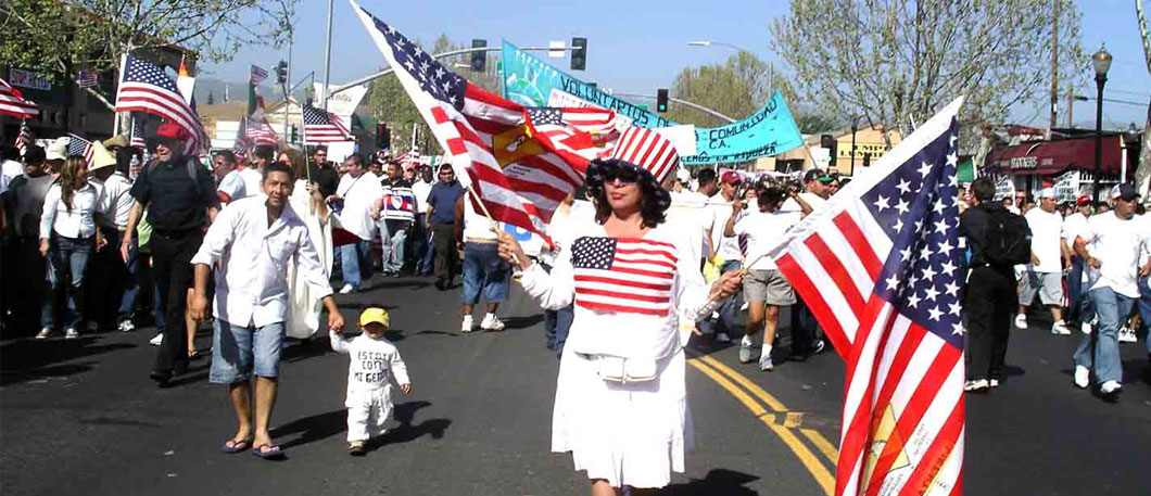MayDay March -Woman with American flags